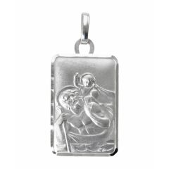 Médaille Saint Christophe rectangulaire en Or Blanc 750