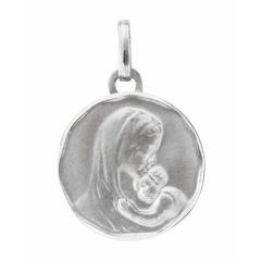 Médaille Vierge à l'enfant en Or Blanc 750 (16mm)