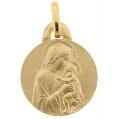 Médaille Vierge à l'enfant en Or Jaune (15mm)