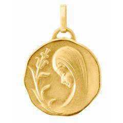Médaille Vierge de Profil en Or Jaune 750 (17mm)