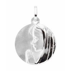 Médaille Vierge en prière en Or Blanc 750