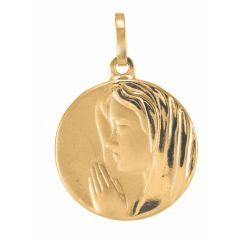 Médaille Vierge en prière en Or jaune 750 (16mm)