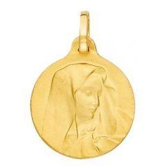 Médaille Vierge Ronde en Or jaune 750 (18mm)