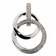 Pendentif 2 Cercles Or Blanc Diamant
