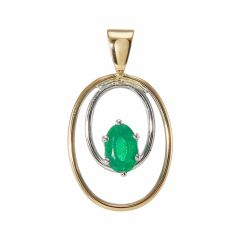 Pendentif 2 Ors Emeraude Ovale 6x4mm