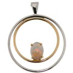 Pendentif 2 Ors Opale Ovale 8x6mm
