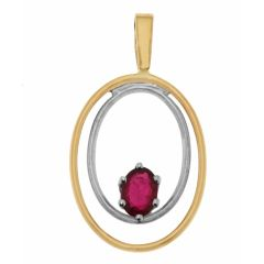 Pendentif 2 Ors Rubis Ovale 6x4mm