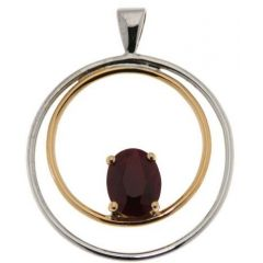 Pendentif 2 Ors Rubis Ovale 9x7mm