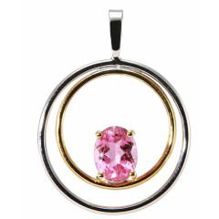 Pendentif 2 Ors Tourmaline Rose Ovale 8x6mm