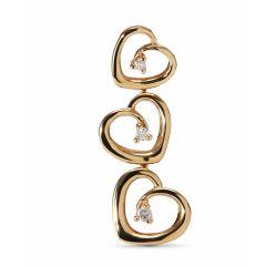 Pendentif 3 Coeurs Or Jaune Diamant