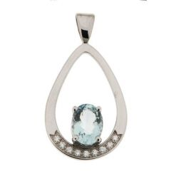 Pendentif Aigue Marine Ovale 8x6mm et Diamant Or Blanc