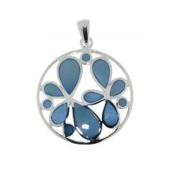 Pendentif Argent 925 Fleurs Nacre bleue