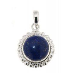 Pendentif Argent 925 Lapis Lazuli Rond 12mm