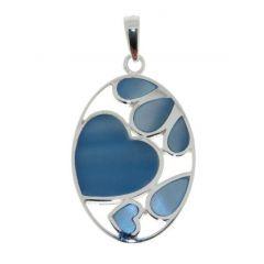 Pendentif Argent Coeur et Pétales Nacre bleue