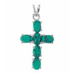 Pendentif Argent Croix Turquoise Synthétique