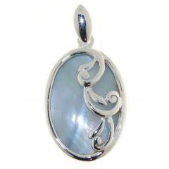 Pendentif Argent  Nacre bleue
