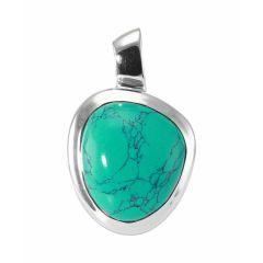 Pendentif Argent  Turquoise Cabochon 17x14mm