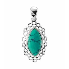 Pendentif Argent Turquoise Navette 16x8mm