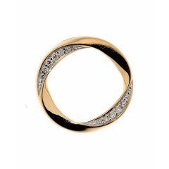 Pendentif Cercle Ondulé Or Jaune Diamant