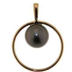 Pendentif Cercle Or Jaune et Perle de Tahiti 10mm