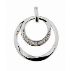 Pendentif Cercles Or Blanc 750 Diamant  0.055 carat