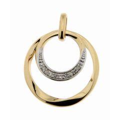 Pendentif Cercles Or Jaune 750 Diamant  0.055 carat
