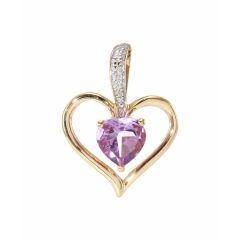 Pendentif Coeur Améthyste et Diamant Or Jaune
