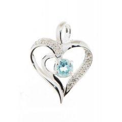 Pendentif Coeur Argent Topaze Bleue et Oxyde