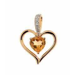 Pendentif Coeur Citrine et Diamant Or Jaune