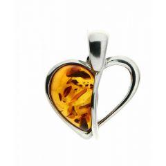 Pendentif Coeur en Ambre et Argent 925