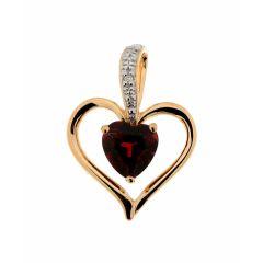Pendentif Coeur Grenat et Diamant Or Jaune