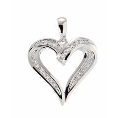 Pendentif Coeur Or Blanc 750 et Diamant