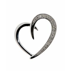 Pendentif Coeur Or Blanc Diamant