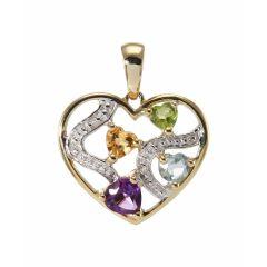 Pendentif Coeur Or Jaune 375 et Pierres fines et Diamant