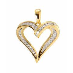 Pendentif Coeur Or Jaune 750 2 tons et Diamant