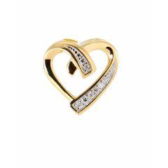 Pendentif Coeur Or Jaune 750 et Diamant