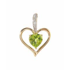 Pendentif Coeur Péridot et Diamant Or Jaune