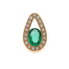 Pendentif Emeraude Or Jaune et Diamants