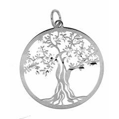 Pendentif en Argent rhodié motif arbre de vie