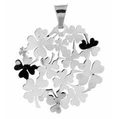 Pendentif en Argent rhodié motif rond et trefles à quatre feuilles