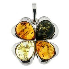 Pendentif Fleur Ambre Multicolore et Argent 925