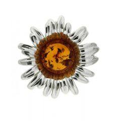 Pendentif Fleur Ambre rond 9mm sur Argent 925