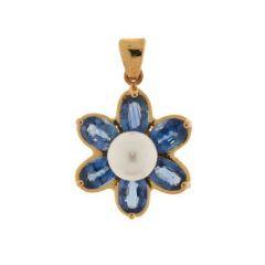 Pendentif fleur Saphirs de ceylan et Perle blanche