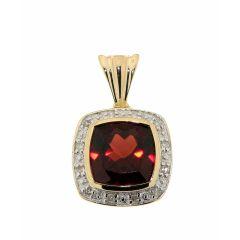Pendentif Grenat Coussin 8mm et Diamant Or Jaune 375