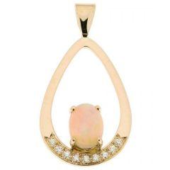 Pendentif Opale Ovale et Diamant Or Jaune