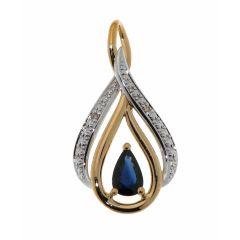Pendentif Or 375 Saphir Poire 6x4mm et Diamant