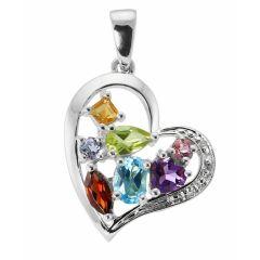 Pendentif or blanc 375 pierres fines et diamant