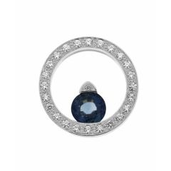 Pendentif Or Blanc 750 Saphir Rond 6.4mm et Diamant