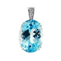 Pendentif Or Blanc 750 Topaze Bleue Ovale 20x15mm et diamants