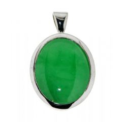 Pendentif Or Blanc Jade ovale de 17 x 14mm